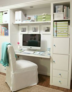 Organized home office.  Attach a couple bookcases to the wall.  Install a desk top and shelf; top it off with a crown molding around the top cover--paint it white and buy a slipper chair or cover one to match.