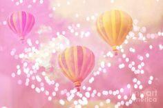 Hot Air Balloons Surreal Dreamy Baby Pink Yellow Hot Air Balloon ...