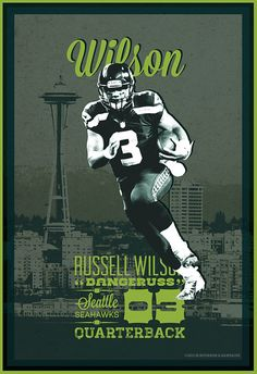Russell Wilson | Seattle Seahawks | 12th Man | Football Poster by Bourbon & Bandaids @ http:// on.fb.me/15kmZKl