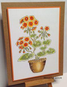 Kukkia ruukussa, leimakuva on Chocolate Baroque - Flora and Fauna setistä