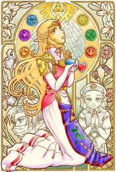 """Adult Princess Zelda with her other """"self""""s (Young Zelda and Sheik) holding the Ocarina of Time - The Legend of Zelda: Ocarina of Time"""
