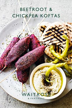 There's more to vegetarian barbecue food than just vegetable kebabs and halloumi. Try these spicy chickpea koftas, delicious served in pittas with houmous and salad.  Tap for the full Waitrose & Partners recipe.  Veggie Recipes, Diet Recipes, Vegetarian Recipes, Cooking Recipes, Healthy Recipes, Recipies, Halloumi, Ella Vegan, Vegetable Kebabs
