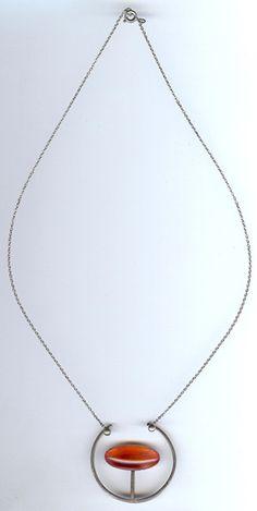SCANDINAVIAN MODERNIST STERLING SILVER PEARLESCENT PINK GLASS NECKLACE