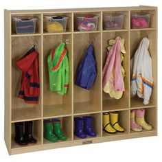 Each unit features 10 coat hooks and five cubbies above and below to accommodate belongings for up to 10 children. Clear or brightly colored bins fit cubbies to keep smaller items from getting lost.