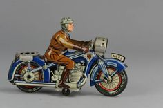 Antique-Tin-Toy-Arnold-1950-US-Zone-Germany-Motorcycle-Clockwork-A643-Blue