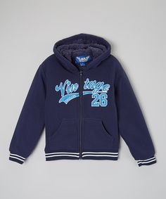 Navy 'Vintage 26' Embroidered Hoodie - Boys by 1826 Jeans $12.99