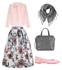 """""""Love the pink and gray"""" by soufihadjera on Polyvore featuring WithChic, Philosophy di Lorenzo Serafini, Chloé, Love Quotes Scarves and Valextra"""