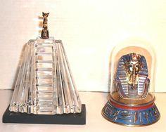 Franklin Mint Egyptian Lot Of 2 King Tut Bell Jar Display Golden Sphinx Pyramid