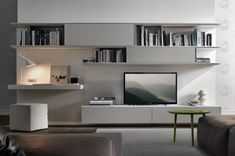 Living-room-wall-unit-system-combines-entertainment-needs-with-and-workstation. - Living-room-wall-unit-system-combines-entertainment-needs-with-and-workstation. Built In Tv Wall Unit, Wall Units With Fireplace, Desk Wall Unit, Living Room Wall Units, Living Room Designs, Wall Tv, Shelf Desk, Wall Units For Tv, Wood Wall