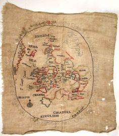 Map sampler by Sarah Ann Drayton, 1805 // oh my, I want to make one of these. @_@