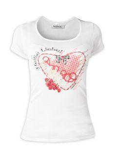 """MondKini Kurzarmshirt mit herzigem Druck!  Kleine Glitzersteinchen verfeinern das süße Motiv mit Himbeeren und Brezln im Herz. Ein """"must have"""" nicht nur für Verliebte."""
