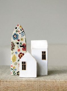 Hello Hand Carved Rubber Stamp houses valentine b. Clay Houses, Ceramic Houses, Paper Houses, Miniature Houses, Wooden Houses, Art Houses, Mini Houses, Miniature Trees, Small Houses