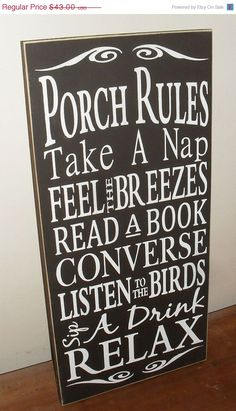 ON SALE TODAY Porch Rules Typography Sign by SignsMakeASmile