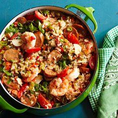 Chicken Andouille & Shrimp Jambalaya from RachaelRayMag.com #myplate