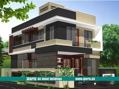 House front elevation design, view, interior design images in Pakistan. 5 Marla, 10 Marla, 1 Kanal house designs ideas pictures in Pakistan - Waris. Building Front, Building Facade, Building Plans, Building Elevation, House Elevation, 10 Marla House Plan, Front Elevation Designs, Interior Design Images, Dream House Plans