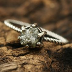 Sterling silver and rough diamond ring in prongs setting with twist design band Check more at