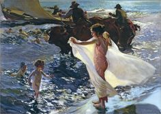 Time to go home ! The Bathing Hour . Spanish artist Joaquin Sorolla y Batista .  1904