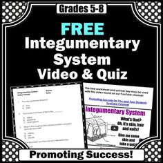 Integumentary System: Here is a free integumentary system worksheet or quiz and answer key to go along with a free YouTube video. The video link is in the free download. This quiz and video makes a great addition to your body systems science center activity.---------------------------This activity is included in the following money-saving bundle:Human Body Systems Mega Bundle----------------------------------You may also like:Muscular System Interactive NotebookSkeletal System Interactive...