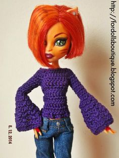Jersey para muñecas Monster Hi de mamimonster por DaWanda.com