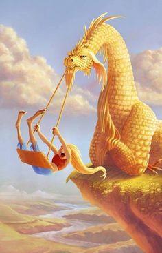 ☆ Dragon Swing :¦: Artist Kathryn Noble ☆ - love this! - ☆ Dragon Swing :¦: Artist Kathryn Noble ☆ – love this! Mythical Creatures Art, Mythological Creatures, Magical Creatures, Fantasy Kunst, Fantasy Art, Dragon Artwork, Dragon Pictures, Fantasy Dragon, Fantasy Characters