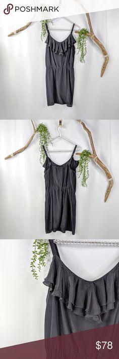 c92fdadbb607 Amanda Uprichard ruffled neck black silk dress 598 Amanda Uprichard ruffled  neck black silk sundress