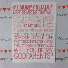 WILL YOU BE My Godmother (other variations available) cards Friends + Family