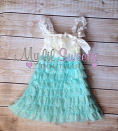 Ivory aqua dress, newborn dress, Lace dress, baby girl outfit, infant outfit, special occasion dress, toddler dress, girls dress, by MyLilSweetieBoutique on Etsy https://www.etsy.com/listing/185151593/ivory-aqua-dress-newborn-dress-lace