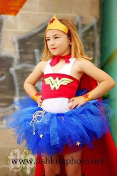Cutest costume ever for a little girl!! Wonder women was my ABSOLUTE FAVE superhero growing up!!  SUPERHERO+costumeWONDER+woman+Tutu+dress+Wonder+by+JennasGarden,+$42.00