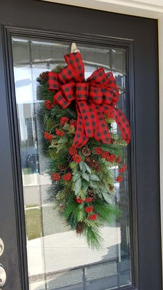 Winter Swag with Red and Black Buffalo Check Bow Berries and Pinecones, Farmhouse and Rustic Christm Christmas Front Doors, Christmas Swags, Black Christmas, Outdoor Christmas, Christmas Design, Country Christmas, Christmas Fun, Christmas Decorations, Holiday Decor