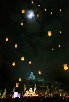 Lanterns at night during Waisak in Borobudur   Travel Guide to Java   http://allindonesiatravel.com/