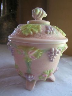 Jeanette Pink Shell Milk Glass Powder Jar
