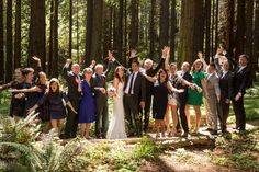 """The UC Botanical Garden is a great place to start a new life together.  Family and friends gather around the newlyweds. After vows were recited, the couple's 130 guests launched into a sing-along of a personalized rendition of """"This Land is Your Land."""" The wedding was also s special zero waste event. Photo:  Luke Keegan Photography"""