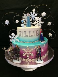 Disney Frozen Cake- I made this cake for my daughters birthday.  Buttercream cake with royal icing snowflakes.