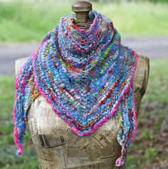 Patchwork Shawl Merino Hand Knitted/ Wearable Art by atomicblue