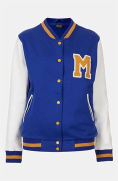 From Shop the Video: Baseball Jackets From the Vogue Closet  Topshop jersey varsity jacket, $70