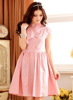 Retro Graceful Pink Pleated Lotus Sleeve Dresses  Item Code:#JK3202+Pink        Wholesale Price: US$18.70    Shipping Weight: 0.38KG