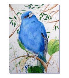 "ORIGINAL Watercolor Art Indigo Bunting Backyard Bird Painting 5x7"""