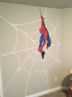 DIY Superhero Wall Art Handpainted Spider Web With Pottery Barn Kids Spiderman Decal I