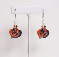 Cincinnati Bengals Earrings, NFL Bengals Love Ya Orange and Black Crystal Pro Football Earrings by scbeachbling on Etsy