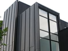 The Roofing Architectual Panel System range for roofing and cladding applications, Standing Seam, Snap Lock, Interlocking Panels, and Nail Strip Black Cladding, Roof Cladding, Interior Cladding, Steel Cladding, Cladding Ideas, Black House Exterior, Modern Exterior, Exterior Design, Exterior Siding
