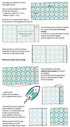 En dessin : confectionnez vous-même vos housses de coussins // http://www.deco.fr/loisirs-creatifs/actualite-549678-fabriquer-housses-coussins-portefeuille.html