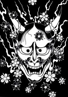 On my whole upper left shoulder down to the elbow. Thinking deep purples, blacks, blues and shades of reds for the cherry blossoms. Japanese Hannya Mask, Japanese Demon Mask, Mascara Hannya, Hannya Mask Tattoo, Mask Drawing, Japanese Sleeve Tattoos, Desenho Tattoo, Epic Art, Geisha