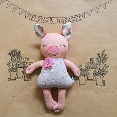 Pig soft toy, This Little Piggy is going to market! She will be leaving her flower market and attending the WA Makers Market with some of her friends on Sunday night. #waaprilmarketnight We hope to see you there! #handmademarket #handmadewa #handmadetoys #perthmade #pigtoy #piggy