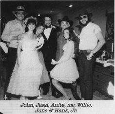 The Highwaymen with some of their ladies and pals. Johnny Cash, Jessi Colter, Waylon Jennings, Anita Carter, Willie Nelson, June Carter Cash, and Hank Williams, Jr.