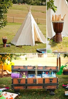 peter pan party activities with teepee and treasure chest