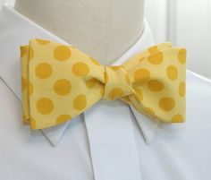 Men's Bow Tie in yellow with gold polka dots by CCADesign on Etsy, $27.00