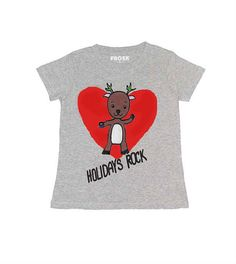 Girls Reindeer top with red heart  Christmas Gift  by FroskGirls