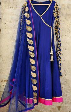 blue anghrakha style frock , long shirt stitch in angrakha style with pink border on damaan , golden work on sleeves and blue dupatta match with it.Stylish Blue ombre dye chiffon dupatta has sequins stripes all four sides. Pakistani Dresses, Indian Sarees, Indian Dresses, Indian Outfits, Pakistani Clothing, Red Lehenga, Lehenga Choli, Bridal Lehenga, Anarkali Dress