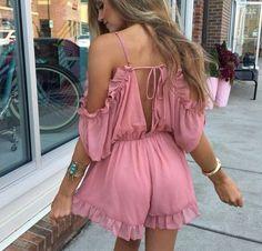 Summer Shoulder V-Neck Romper Dress