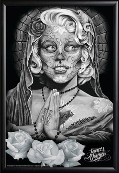 Day of the Dead - Marilyn Monroe 24x36 Poster  by James Danger - #jamesdanger #dayofthedead #dotd #marilynmonroe #normajean #blackandwhite #art